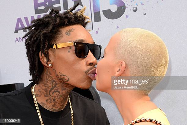 Recording Artist Wiz Khalifa and model Amber Rose attend the Ford Red Carpet at the 2013 BET Awards at Nokia Theatre LA Live on June 30 2013 in Los...