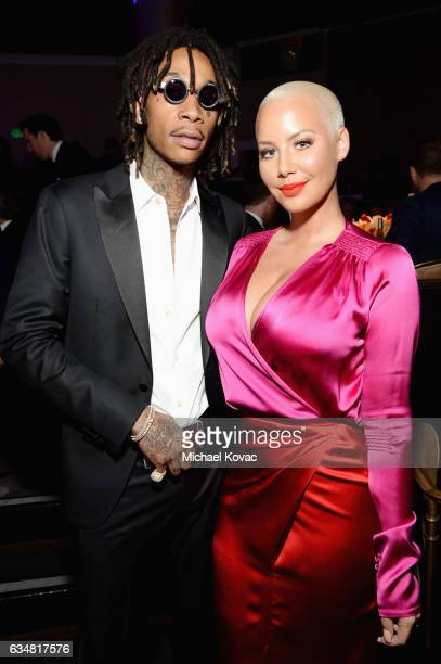 Recording artist Wiz Khalifa and modelTV personality Amber Rose attend PreGRAMMY Gala and Salute to Industry Icons Honoring Debra Lee on February 11...