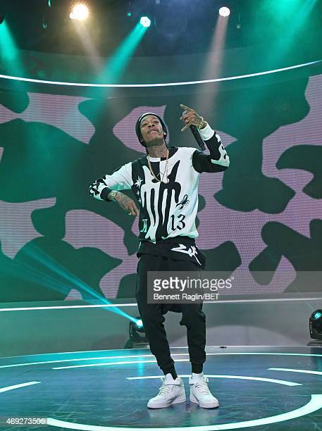 Recording artist Wiz Khalifa performs during 106 Park at BET studio on February 13 2014 in New York City