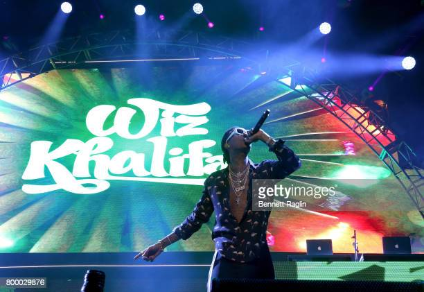 Recording artist Wiz Khalifa performs onstage at night one of the 2017 BET Experience STAPLES Center Concert sponsored by Hulu at Staples Center on...