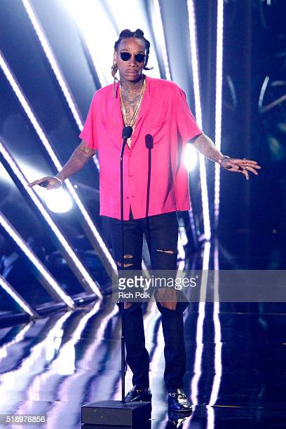 Recording artist Wiz Khalifa speaks onstage during the iHeartRadio Music Awards at The Forum on April 3 2016 in Inglewood California