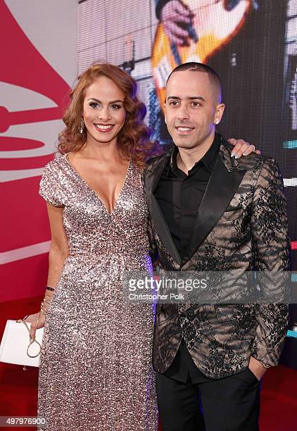 Recording artist Yandel and Edneris Espada Figueroa attends the 16th Latin GRAMMY Awards at the MGM Grand Garden Arena on November 19 2015 in Las...
