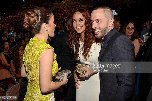 Recording artist Yandel Yomaira Ortiz Feliciano and Edneris Espada Figueroa attend The 14th Annual Latin GRAMMY Awards at the Mandalay Bay Events...