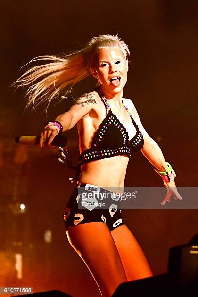 Recording artist Yolandi Visser of Die Antwoord performs on Ambassador Stage during day 2 of the Life Is Beautiful festival on September 24 2016 in...