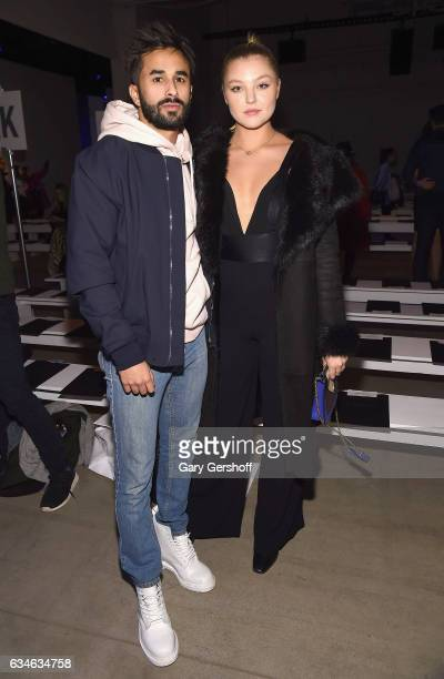 Recording artist Yonee and model Rachel Hilbert attend the Cushnie Et Ochs fashion show during February 2017 New York Fashion Week at Gallery 1...