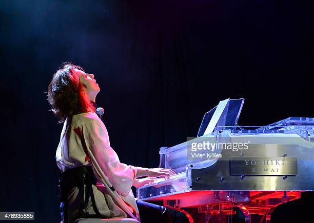 Recording artist Yoshiki performs FLAUNT Celebrates The Release Of The List Issue Featuring Yoshiki Vs His Hologram And The Wow at Qui on March 14...