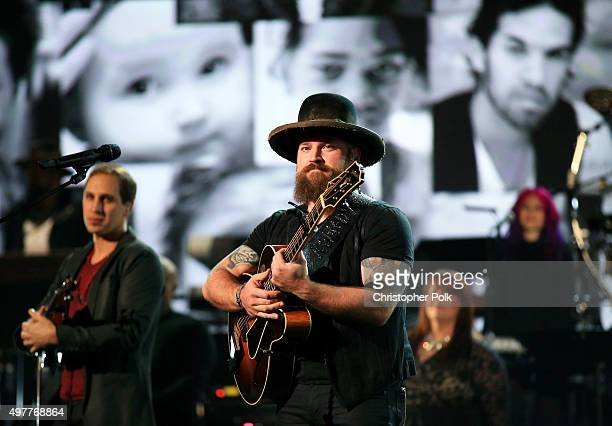Recording artist Zac Brown of Zac Brown Band performs onstage at AE Networks 'Shining A Light' concert at The Shrine Auditorium on November 18 2015...