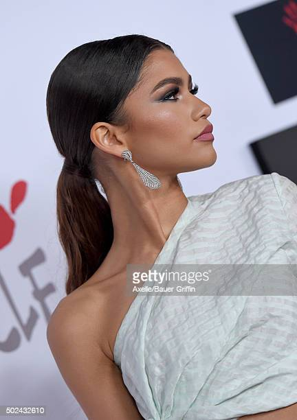Recording artist Zendaya arrives at Rihanna and The Clara Lionel Foundation Host 2nd Annual Diamond Ball at The Barker Hanger on December 10 2015 in...