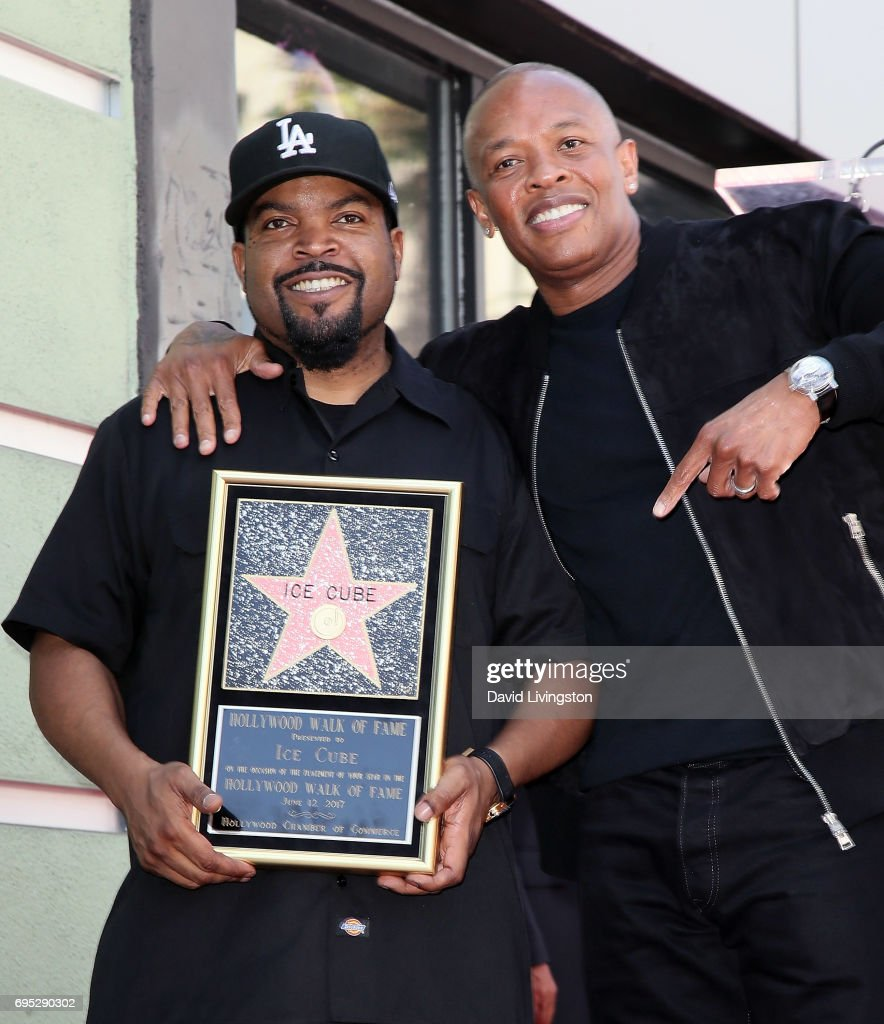 Recording artist/actor Ice Cube (L) and record producer Dr. Dre attend Ice Cube being honored with a Star on the Hollywood Walk of Fame on June 12, 2017 in Hollywood, California.