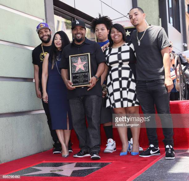 Recording artist/actor Ice Cube holding plaque and family attend his being honored with a Star on the Hollywood Walk of Fame on June 12 2017 in...
