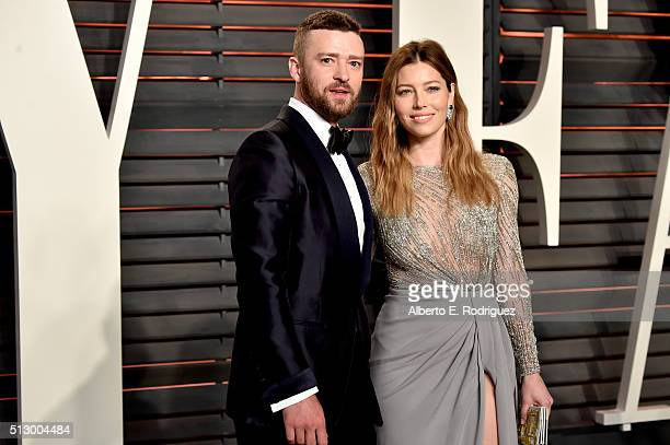 Recording artist/actor Justin Timberlake and actress Jessica Biel attend the 2016 Vanity Fair Oscar Party hosted By Graydon Carter at Wallis...