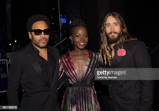 Recording artist/actor Lenny Kravitz, actress Lupita Nyong'o and recording artist/actor Jared Leto attend TNT's 21st Annual Screen Actors Guild...