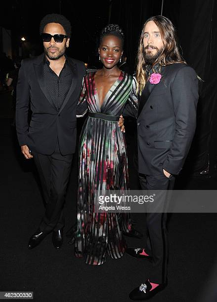 R Recording artist/actor Lenny Kravitz actress Lupita Nyong'o and recording artist/actor Jared Leto attend the 21st Annual Screen Actors Guild Awards...