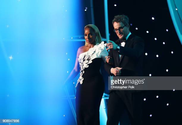 Recording artist/actor Mary J Blige and actor Jason Clarke onstage during the 24th Annual Screen Actors Guild Awards at The Shrine Auditorium on...