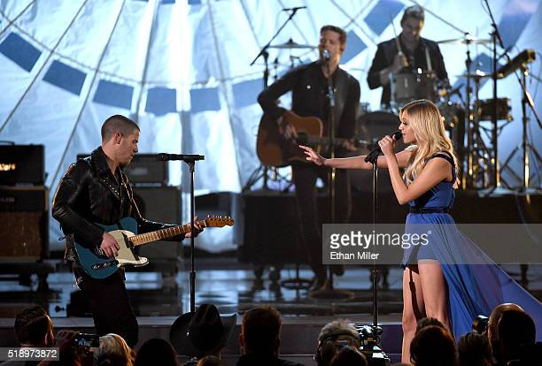 Recording artist/actor Nick Jonas and recording artist Kelsea Ballerini perform onstage during the 51st Academy of Country Music Awards at MGM Grand...