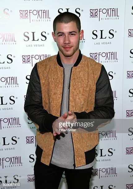 Recording artist/actor Nick Jonas arrives at SLS Las Vegas for a New Year's Eve performance on December 31 2015 in Las Vegas Nevada