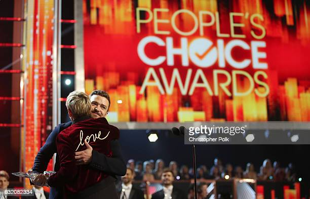 Recording artist/actor recording artist Justin Timberlake presents TV personality/actress Ellen DeGeneres the awards for Favorite Animated Movie...
