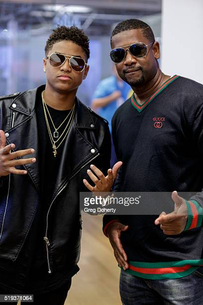 Recording Artist/Actor Torion Sellers poses for a picture with Todd Sellers during a 'Meet Greet' with actors of the movie 'Barber Shop 3 The Next...