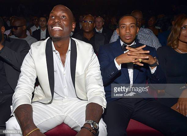 Recording artist/actor Tyrese Gibson and honoree Chris 'Ludacris' Bridges attend the 2014 BMI RB/HipHop Awards at the Pantages Theatre on August 22...