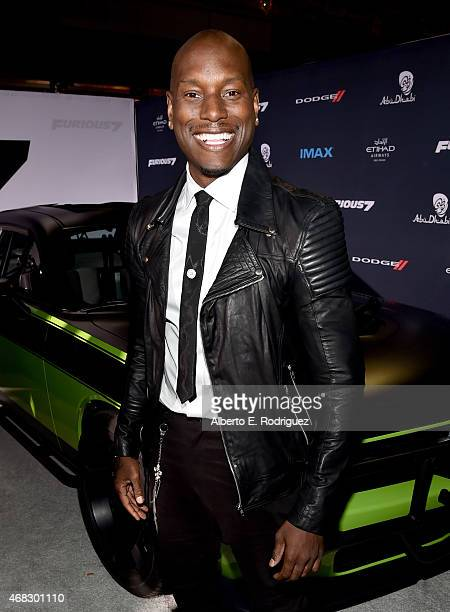 Recording artist/actor Tyrese Gibson attends Universal Pictures' 'Furious 7' premiere at TCL Chinese Theatre on April 1 2015 in Hollywood California