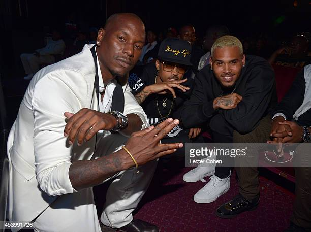 Recording artist/actor Tyrese Gibson recording artist August Alsina and recording artist Chris Brown attend the 2014 BMI RB/HipHop Awards at the...