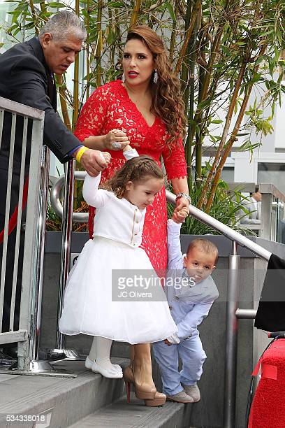 Recording artist/actress Angelica Vale and her children Angelica Padron and Otto Padron attend a ceremony honoring Angelica Maria with a Star on The...