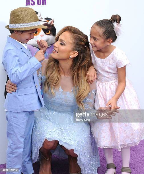 Recording artist/actress Jennifer Lopez and her son Maximillian David Muniz and daughter Emme Maribel Muniz arrive at Twentieth Century Fox And...