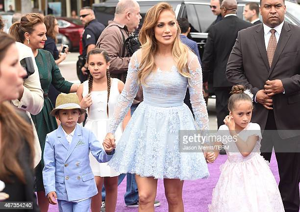 Recording Artist/actress Jennifer Lopez and son Maximilian David Muniz and daughter Emme Maribel Muniz arrive at Twentieth Century Fox And Dreamworks...