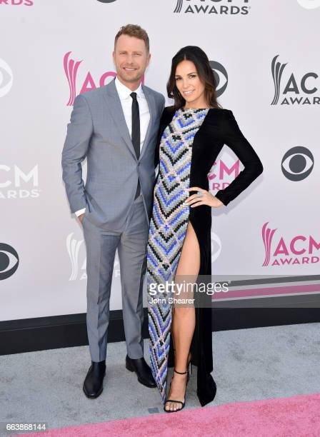Recording artist/cohost Dierks Bentley and Cassidy Black attend the 52nd Academy Of Country Music Awards at Toshiba Plaza on April 2 2017 in Las...