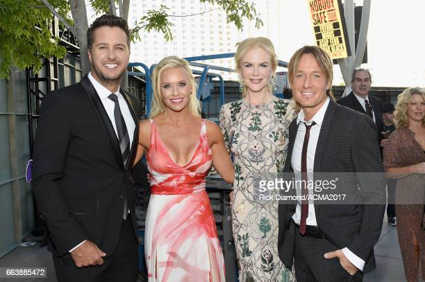 Recording artist/cohost Luke Bryan Caroline Boyer actor Nicole Kidman and singer Keith Urban attend the 52nd Academy Of Country Music Awards at...
