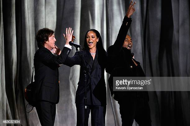 Recording artistis Paul McCartney Rihanna and Kanye West perform FourFiveSeconds onstage during The 57th Annual GRAMMY Awards at the at the STAPLES...