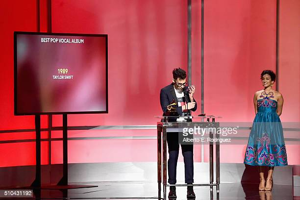 Recording artist/producer Jack Antonoff winner of Best Pop Vocal Album for Taylor Swift's '1989' accepts award onstage during the GRAMMY PreTelecast...