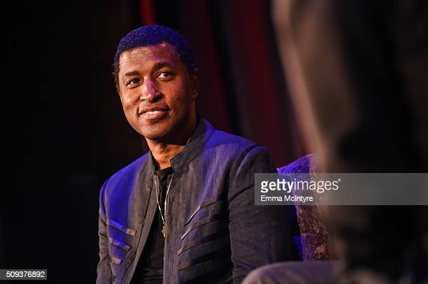 Recording artist/producer Kenneth 'Babyface' Edmonds speaks onstage at Icons of the Music Industry at The GRAMMY Museum on February 9 2016 in Los...