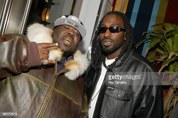 Recording artists 8Ball and MJG attend the Notorious BIG Duets Remix Video Shoot at the Dream Hotel November 17 2005 in New York City The video is to...