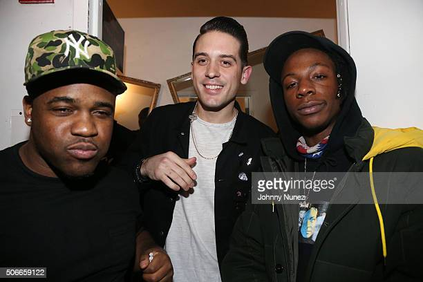 Recording artists A$AP Ferg GEazy and Joey Bada$$ backstage at Terminal 5 on January 24 in New York City