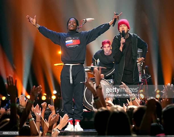 Recording artists A$AP Rocky Josh Dun and Tyler Joseph of Twenty One Pilots perform onstage during the 2015 MTV Video Music Awards at Microsoft...