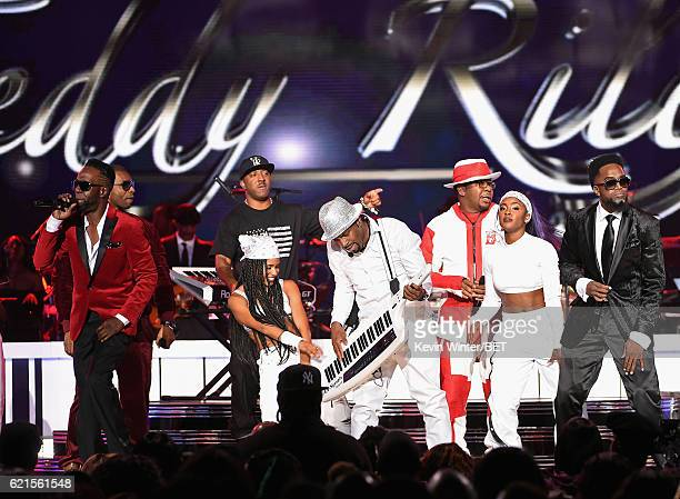 Recording artists Aaron Hall of Guy Markell Riley of WreckxnEffe Damion Hall of Guy perform onstage during the 2016 Soul Train Music Awards at the...