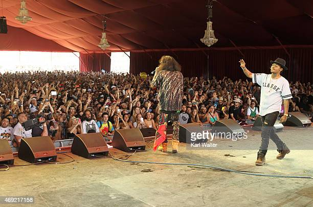Recording artists AbSoul and Gionardo Burg perform onstage during day 1 of the 2015 Coachella Valley Music Arts Festival at the Empire Polo Club on...