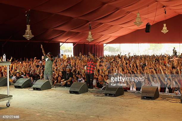 Recording artists AbSoul and Gionardo Burg perform onstage during day 1 of the 2015 Coachella Valley Music And Arts Festival at The Empire Polo Club...