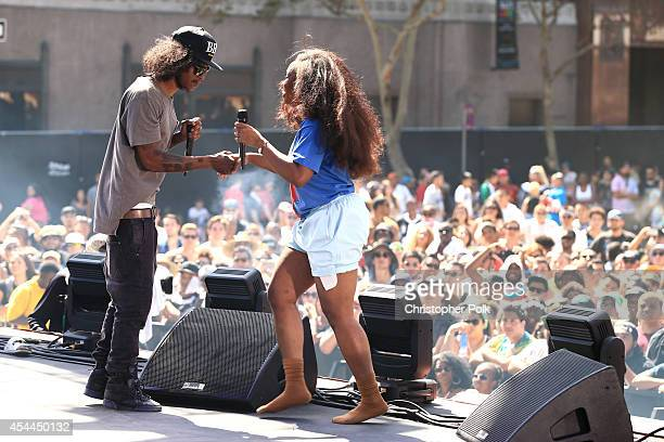 Recording artists AbSoul and SZA perform on the Dylan Stage during day 2 of the 2014 Budweiser Made in America Festival at Los Angeles Grand Park on...