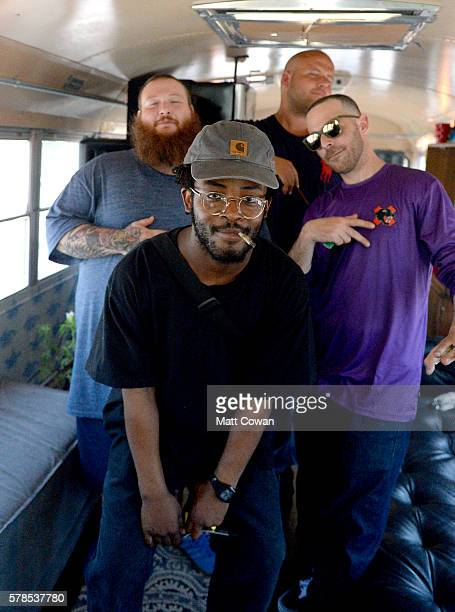 Recording artists Action Bronson producer The Alchemist and KnXwledge attend The 'VICELAND' ComicCon Party Bus at San Diego Convention Center on July...