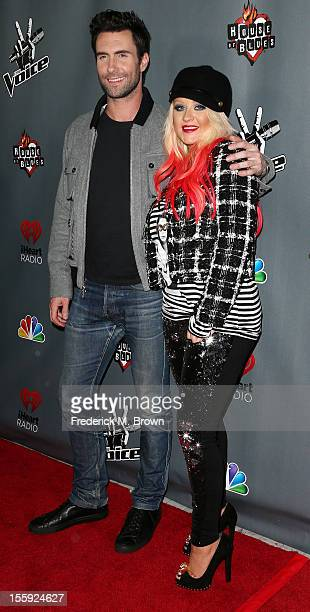 Recording artists Adam Levine and Christina Aguilera attend NBCUniversal's The Voice Season 3 Red Carpet Event at The House of Blues Sunset Strip on...