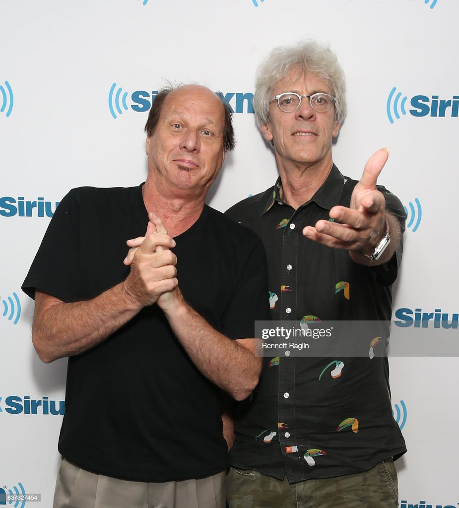 Recording artists Adrian Belew and Stewart Copeland visit SiriusXM at SiriusXM Studios on August 22, 2017 in New York City.