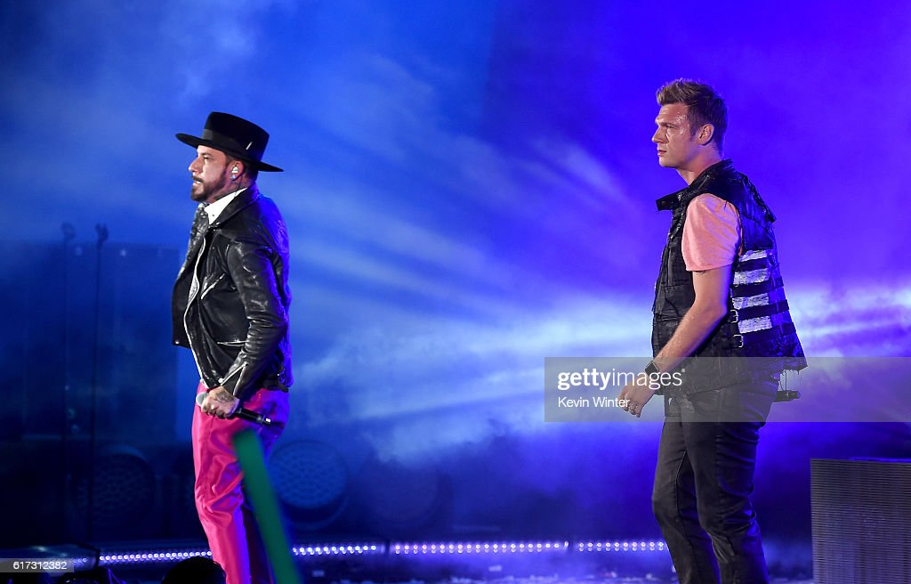 Recording artists A.J. McLean (L) and Nick Carter of Backstreet Boys perform onstage during CBS RADIO's fourth annual We Can Survive concert at the Hollywood Bowl on October 22, 2016 in Hollywood, California.