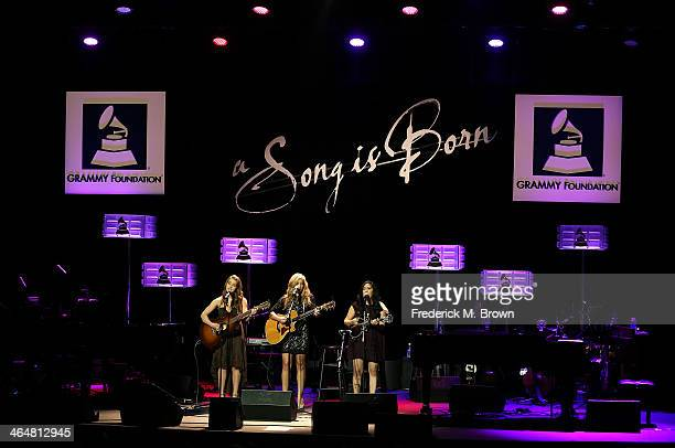 Recording artists Alaina Stacey Katy Bishop and Kristen Castro perform during the 56 GRAMMY Awards Grammy Foundation Legacy Concert at The Wilshire...