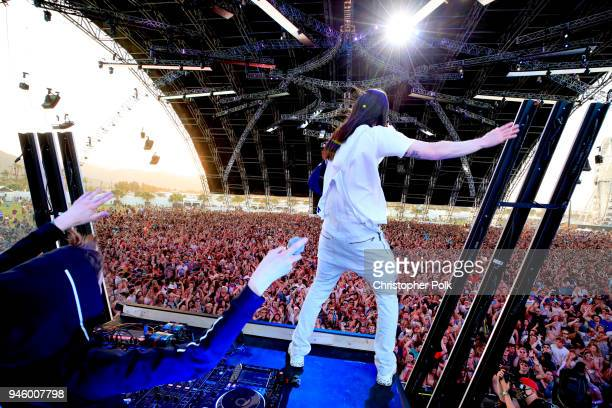 Recording Artists Alan Walker and Steve Aoki perform onstage during the 2018 Coachella Valley Music And Arts Festival at the Empire Polo Field on...