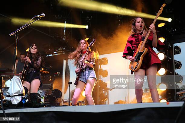 Recording artists Alana Danielle and Este of HAIM perform onstage at Which Stage during Day 3 of the 2016 Bonnaroo Arts And Music Festival on June 11...