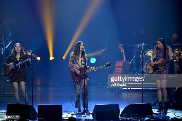Recording artists Alana Haim Danielle Haim and Este Haim of music group Haim perform onstage during MusiCares Person of the Year honoring Fleetwood...