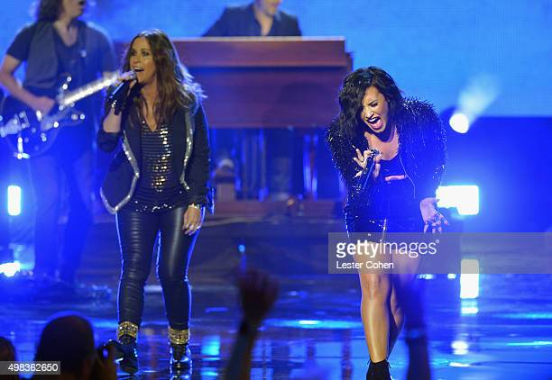 Recording artists Alanis Morissette and Demi Lovato perform onstage during the 2015 American Music Awards at Microsoft Theater on November 22 2015 in...