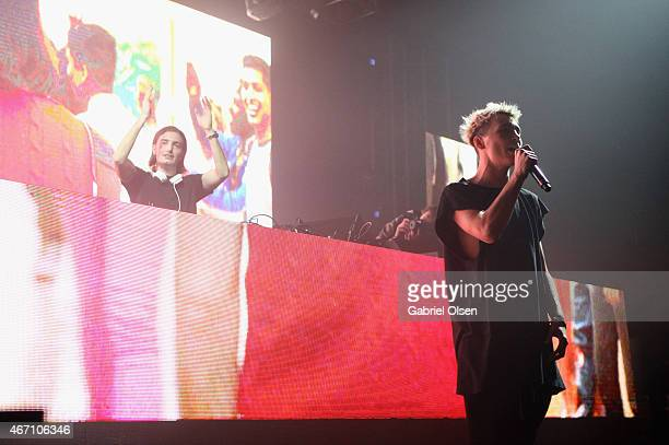 Recording artists Alesso and Roy English perform at 971 AMP Radio Presents AMPLIFY 2015 at the Hollywood Palladium on March 20 2015 in Los Angeles...